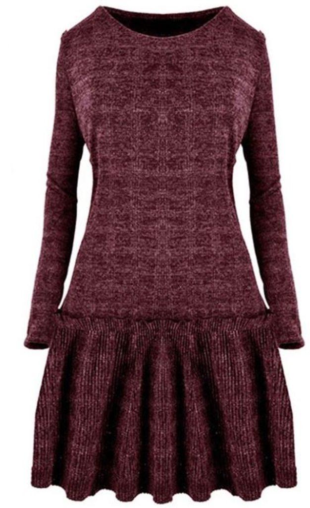 Dámské úpletové šaty - UNI (S-L)  Bordó