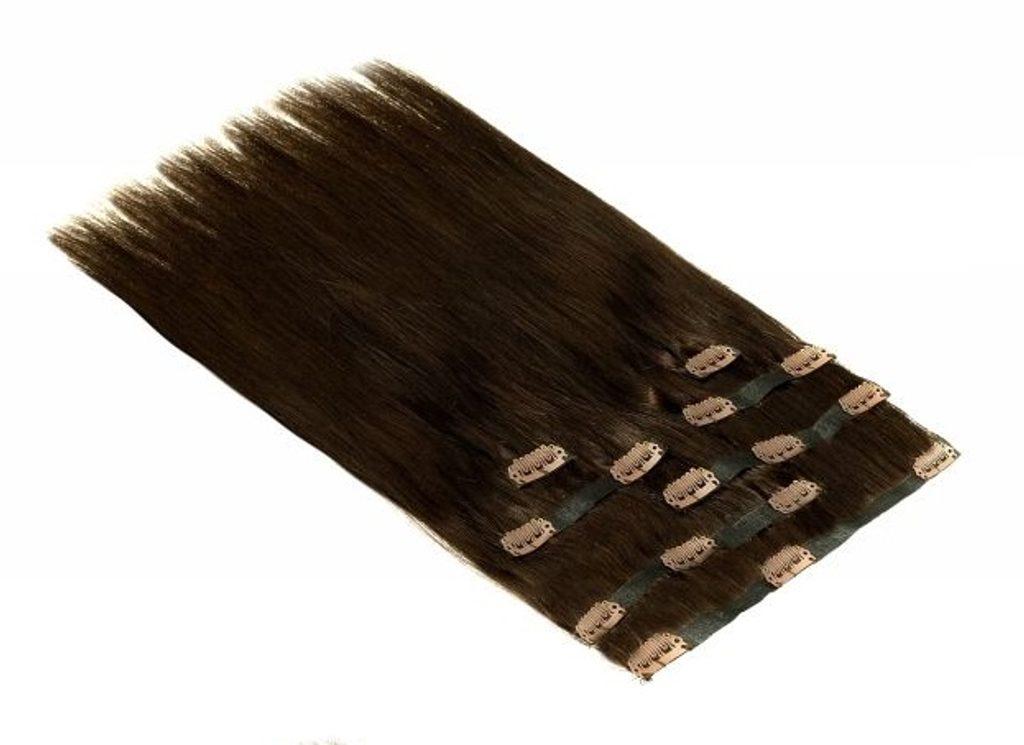 Bezešvé CLIP IN 100% Indické lidské vlasy REMY, tmavě hnědá