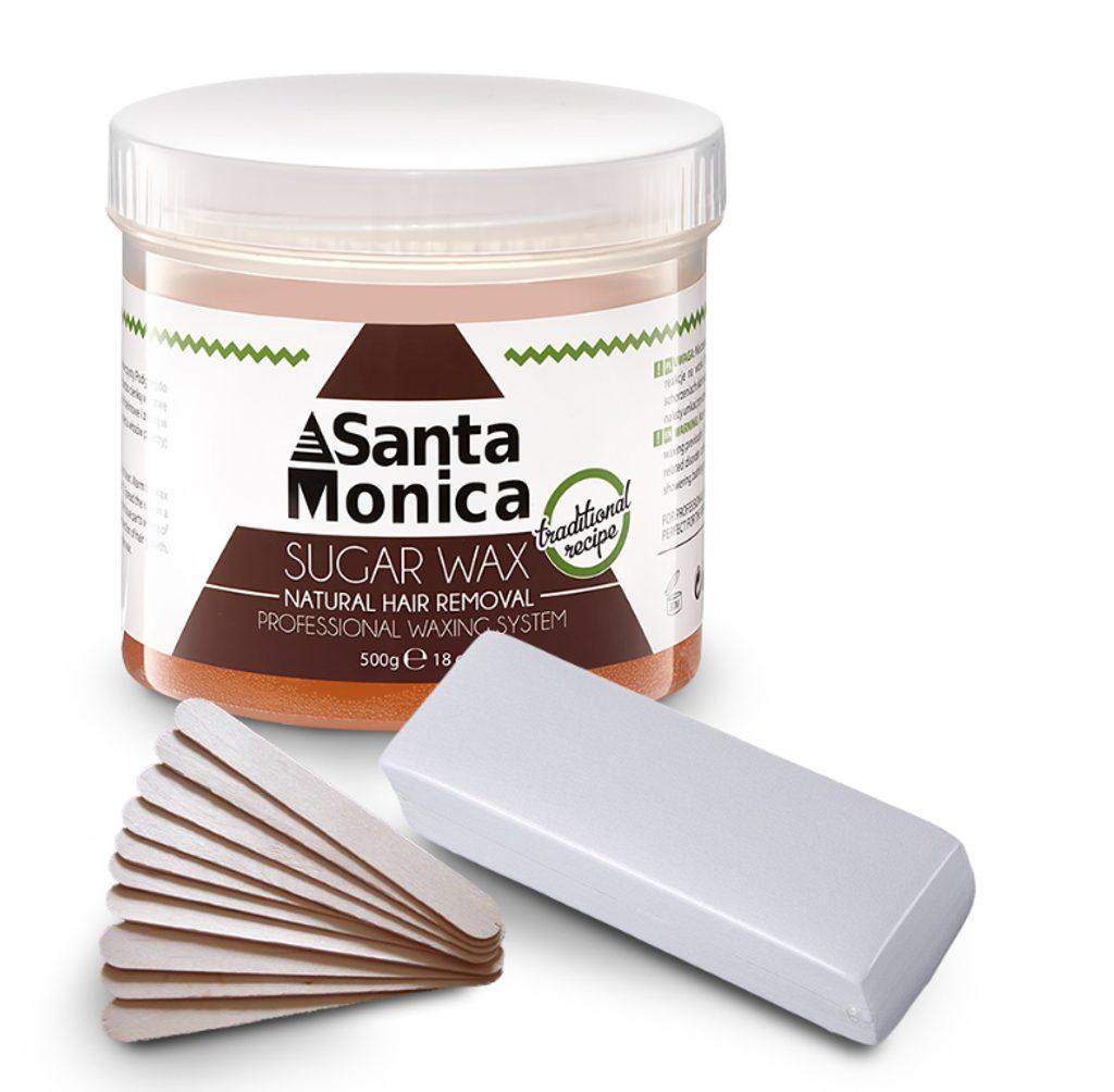 Depilační cukrová pasta Santa Monica + 10ks dřevěné špachtle + depilační pásky - 500g