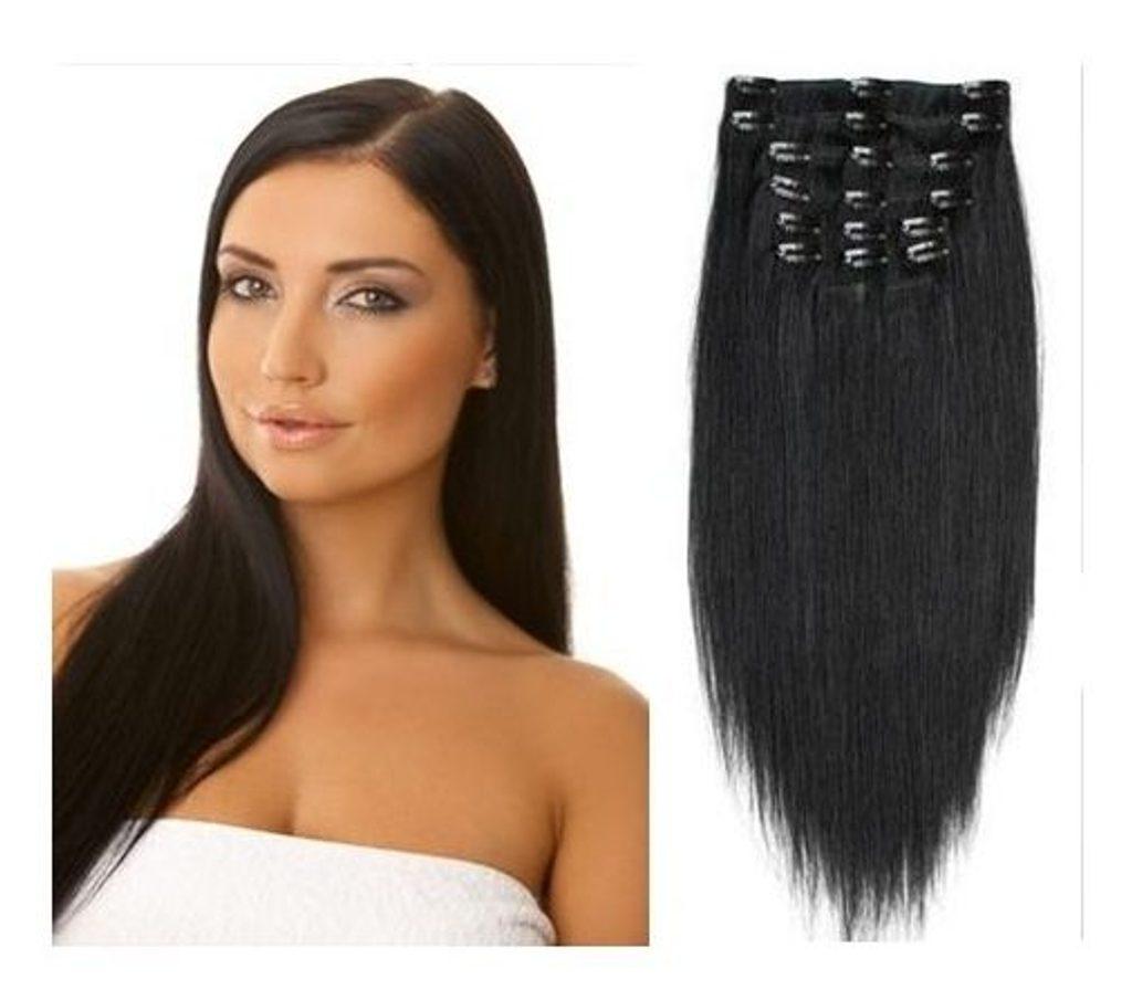 CLIP IN vlasy - 100% Lidské vlasy k prodloužení REMY, černo-hnědé