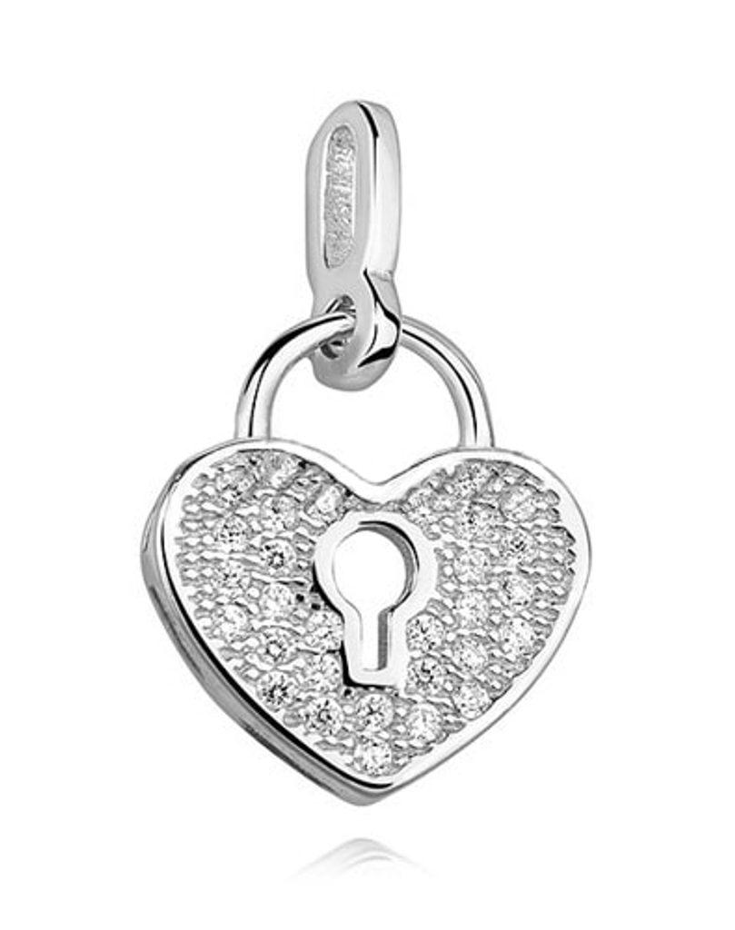 Stříbrný přívěsek Srdce na zámek se Swarovski Elements Zirconia
