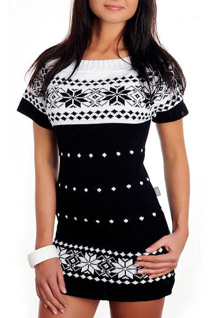 Dámské pletené šaty s norským vzorem- black - UNI (S-L)