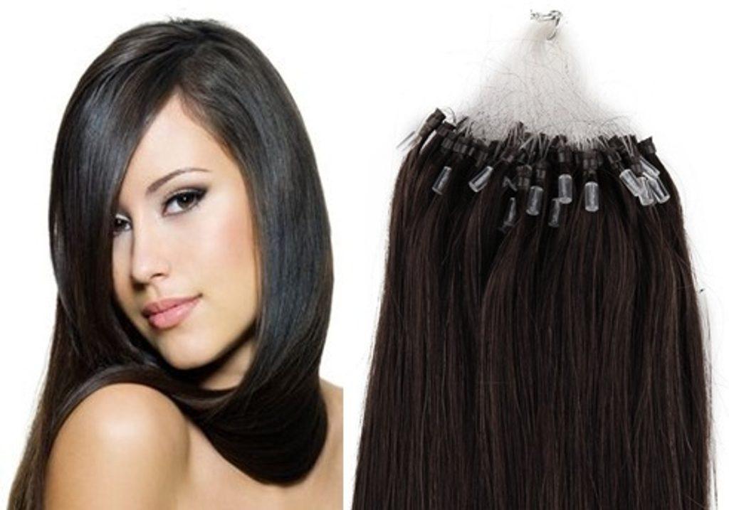 MICRO LOOP/ MICRO RING- 100% Lidské vlasy k prodloužení REMY, černo-hnědá 55cm