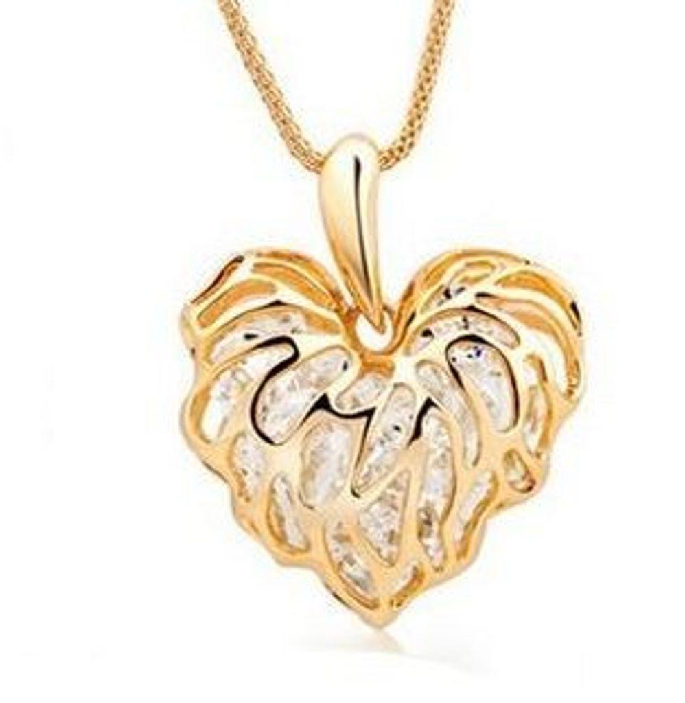 Okouzlující náhrdelník se srdcem plněným krystaly - dvě varianty - gold