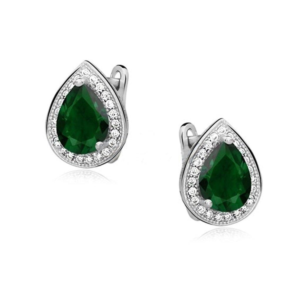 Stříbrné náušnice Kapka - smaragd