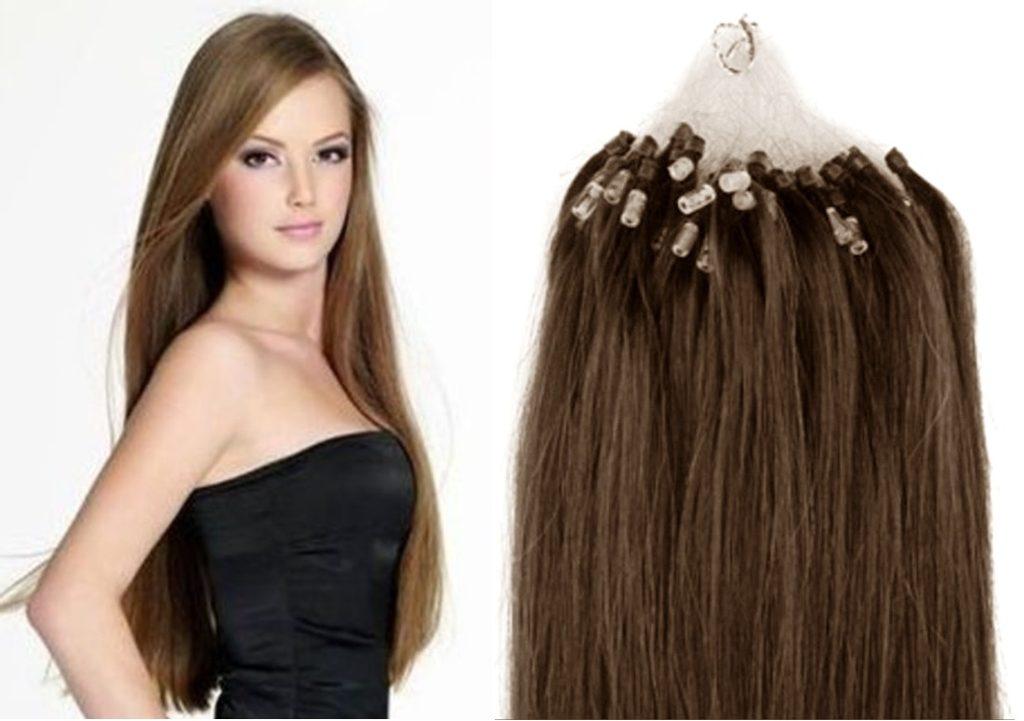 MICRO LOOP/ MICRO RING- 100% Lidské vlasy k prodloužení REMY, světle hnědé 55cm