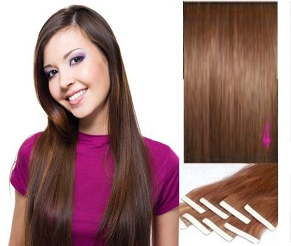 TAPEX vlasy - 100% Lidské vlasy REMY, středně hnědé