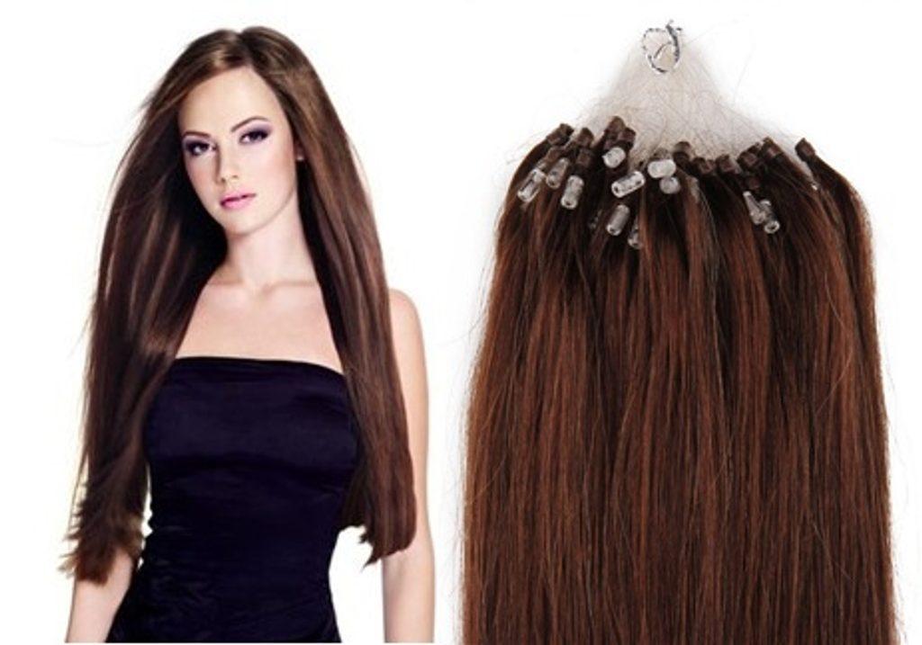 MICRO LOOP/ MICRO RING- 100% Lidské vlasy k prodloužení REMY, středně hnědé 55cm