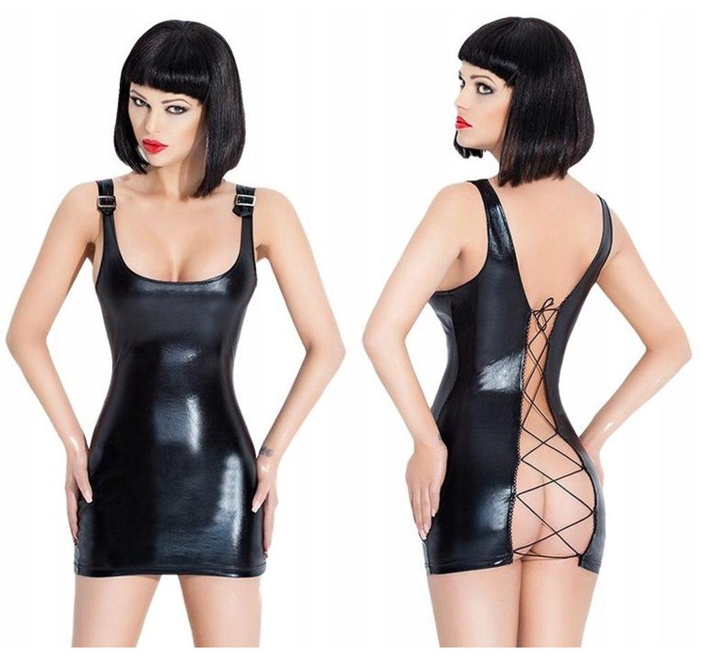 Luxusní latexové šaty se šněrováním - S