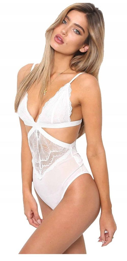 Dámské sexy krajkové body - White  S/M