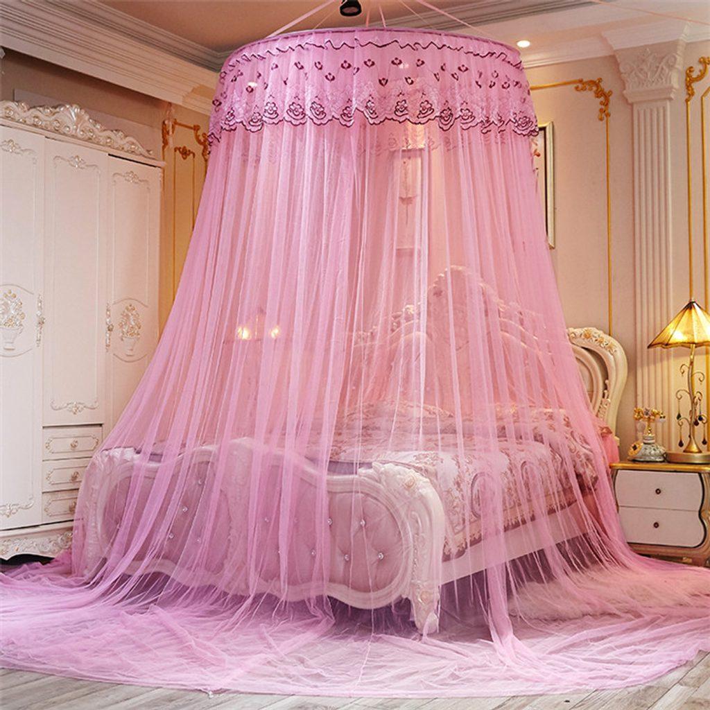 Nádherná nebesa nad postel s ozdobnými volánky - růžová