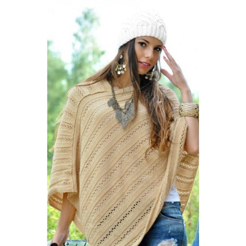 Dámské pletené pončo - yellow - L/XL