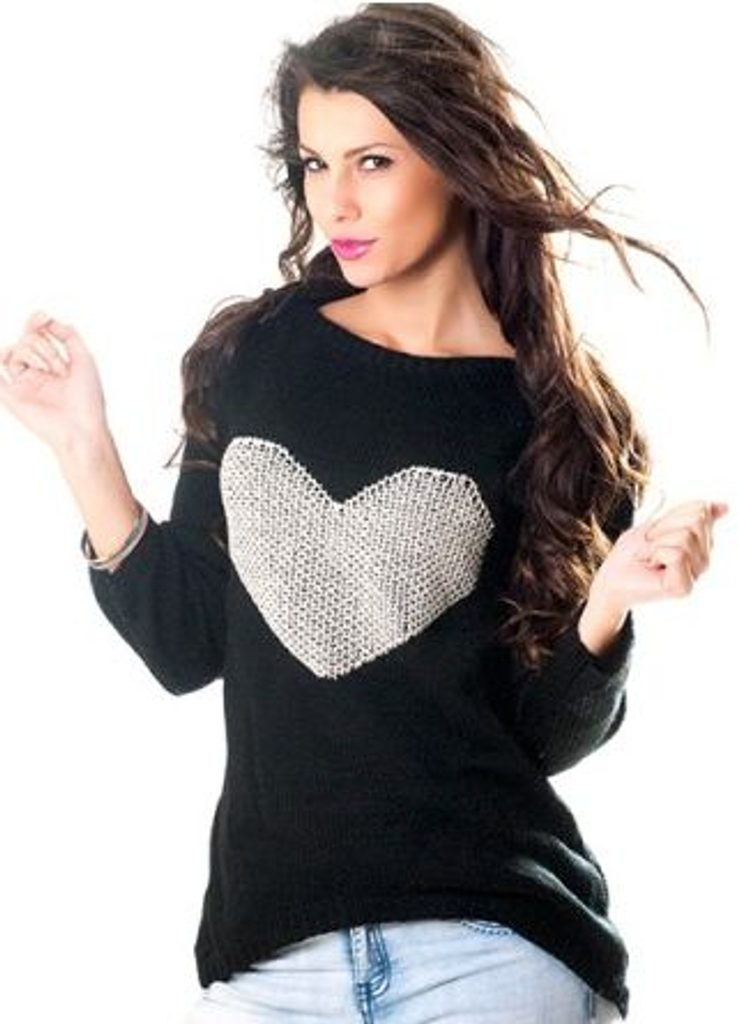 Dámský pulovr se srdíčkem - UNI (S-L)  Black