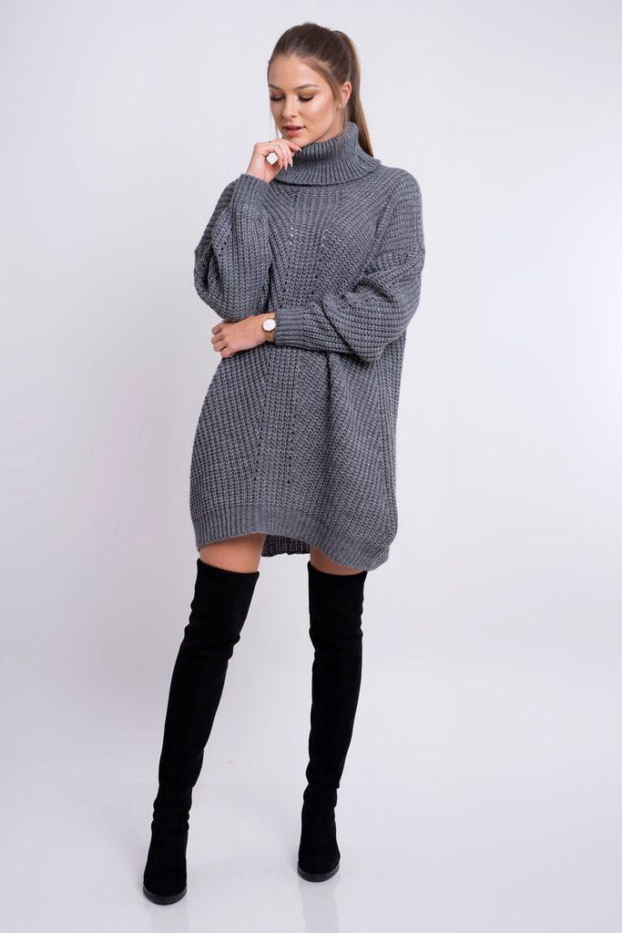 Dámské pletené šaty s rolákem - grafit - UNI (S-L)