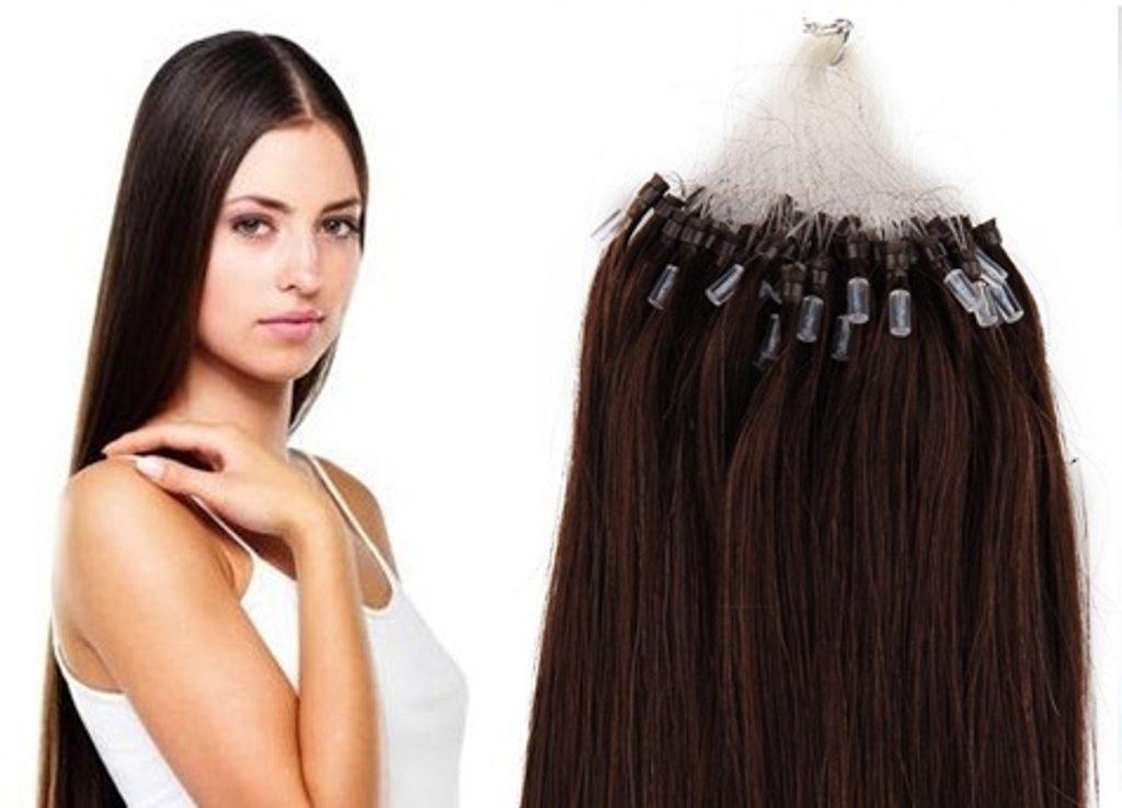 MICRO LOOP/ MICRO RING- 100% Lidské vlasy k prodloužení REMY, tmavě hnědé 55cm