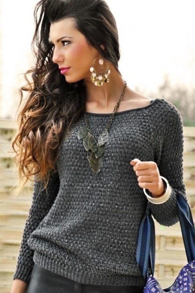 Dámský pletený svetr - UNI (S-L)  Grafit