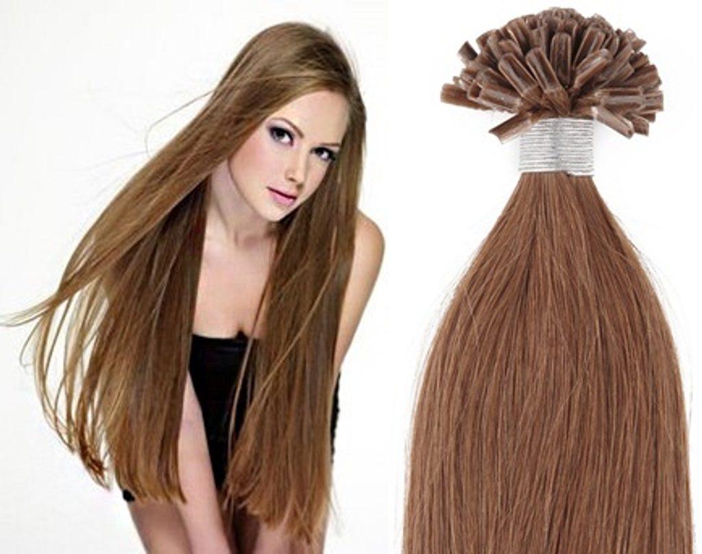 KERATIN- 100% Lidské vlasy k prodloužení REMY,světle hnědá 46,55,60cm - 60cm