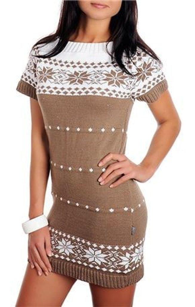Dámské pletené šaty s norským vzorem - brown - UNI (S-L)