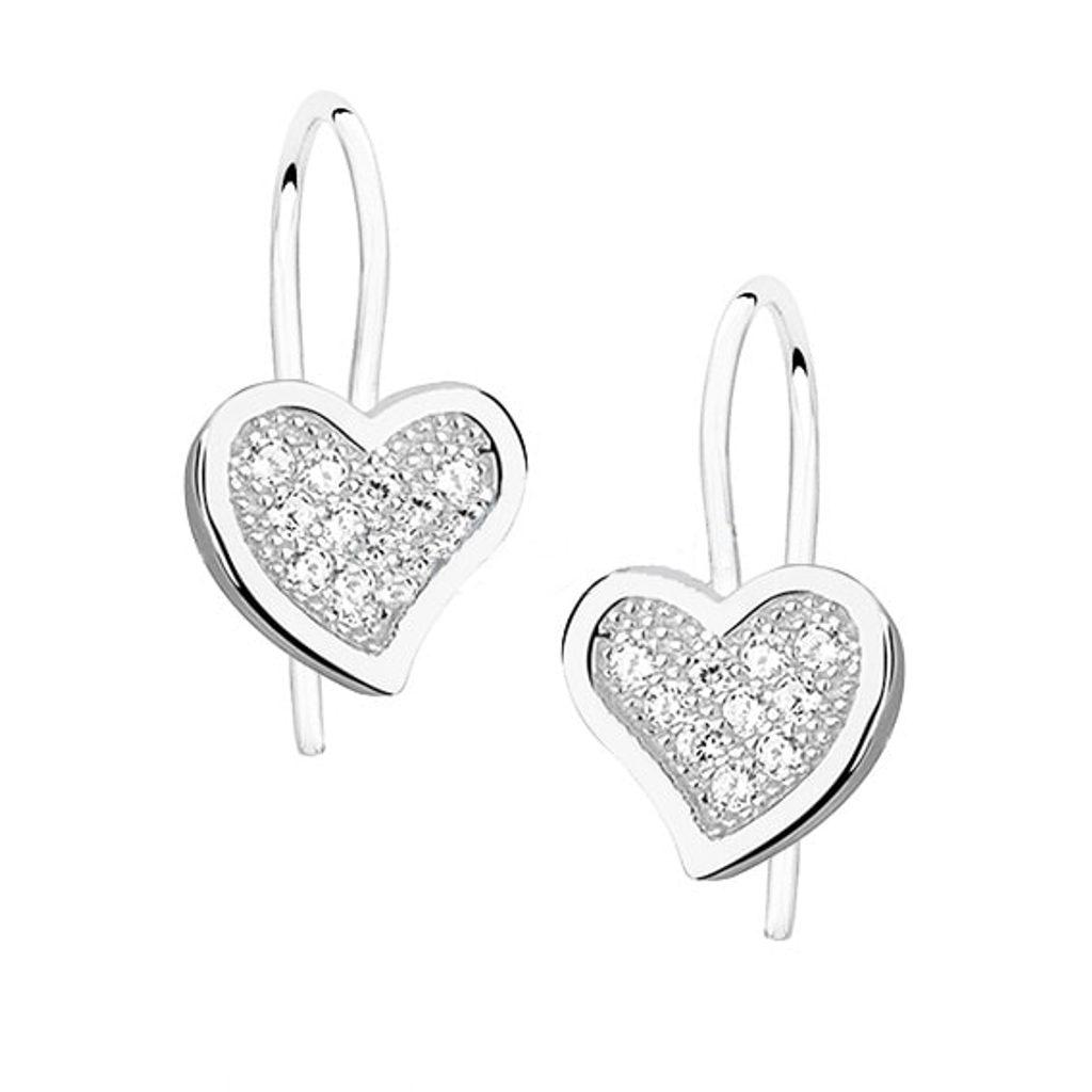 Stříbrné náušnice Srdce se Swarovski Elements Zirconia