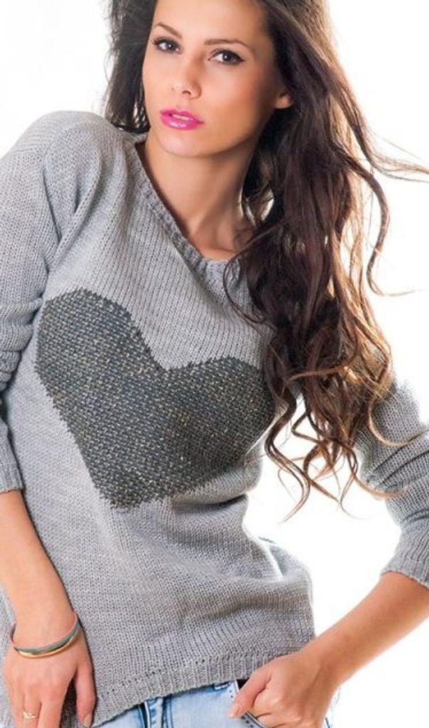 Dámský pulovr se srdíčkem - UNI (S-L)  Grey