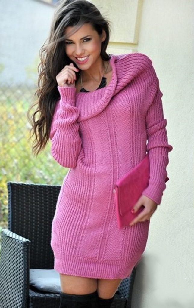 Dámské hřejivé šaty klasickém stylu - UNI (S-L)