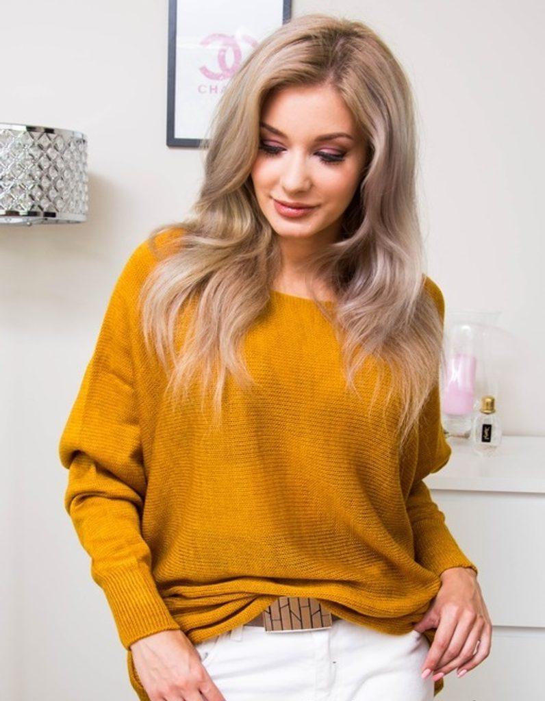 Dámský oversize svetřík - UNI (S-L)  Mustard