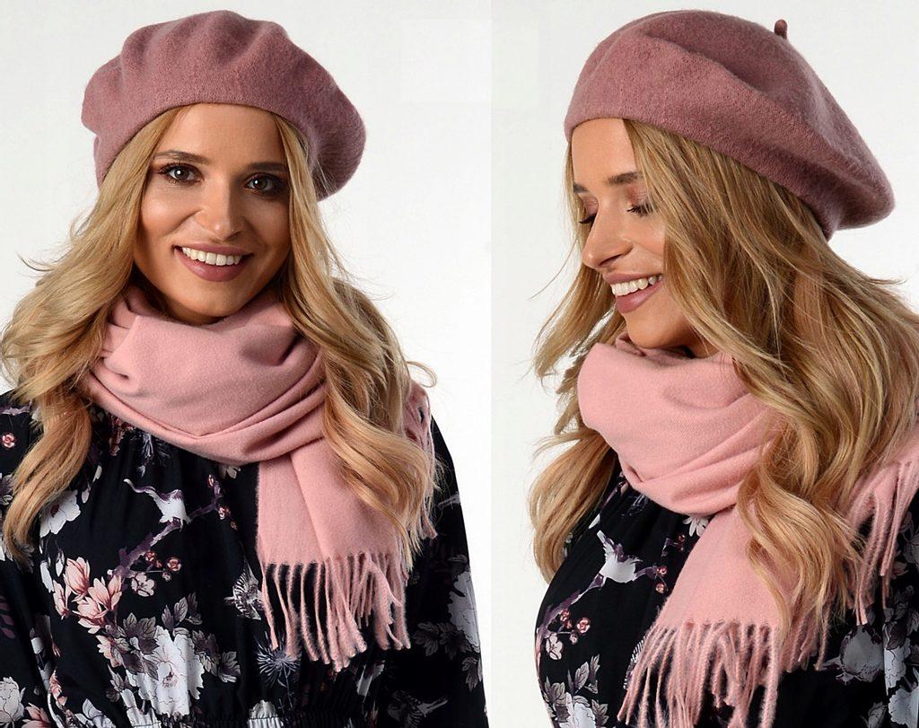 Dámská stylový baret - pink