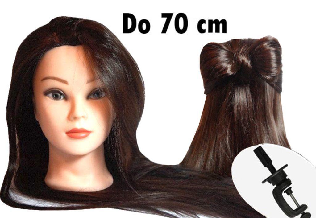 Cvičná hlava Lina k prodlužování vlasů, střihy, účesy + stojan ZDARMA! Vlasy 70cm