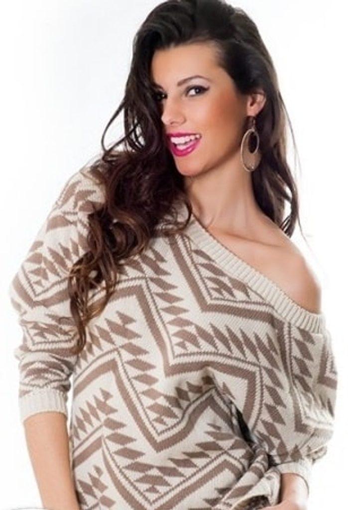 Dámský sexy svetr s odhalenými rameny - UNI (S-L)  Beige