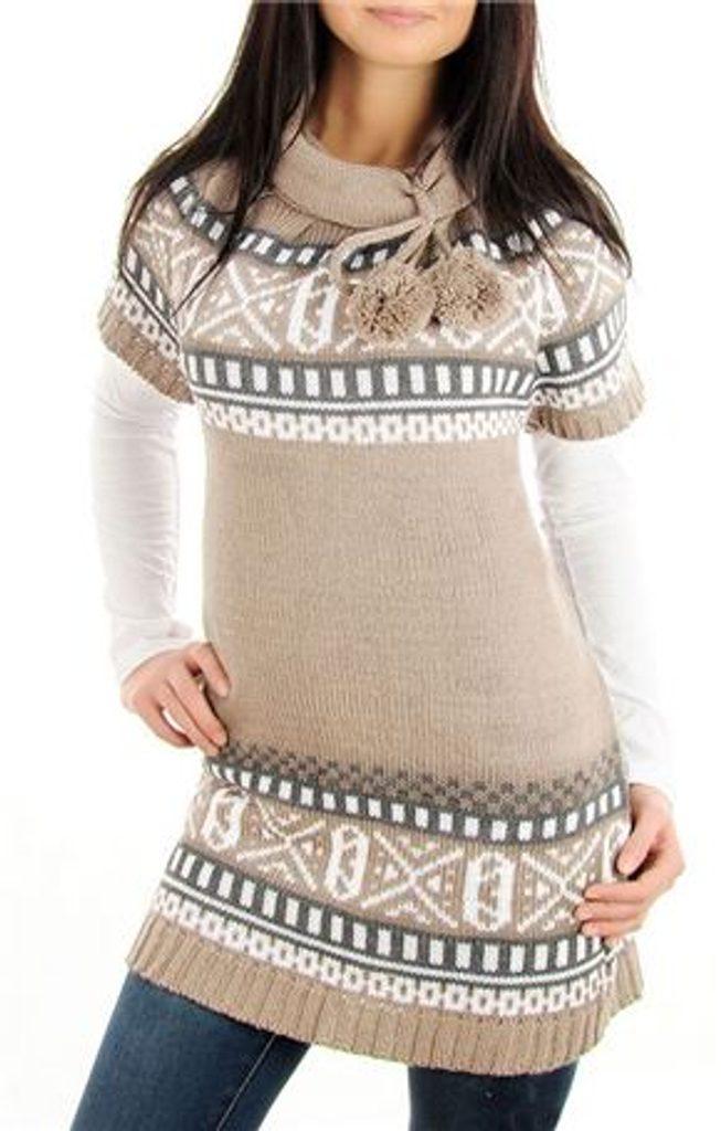 Dámské pletené šaty s norským vzorem a bambulemi - UNI (S-L)