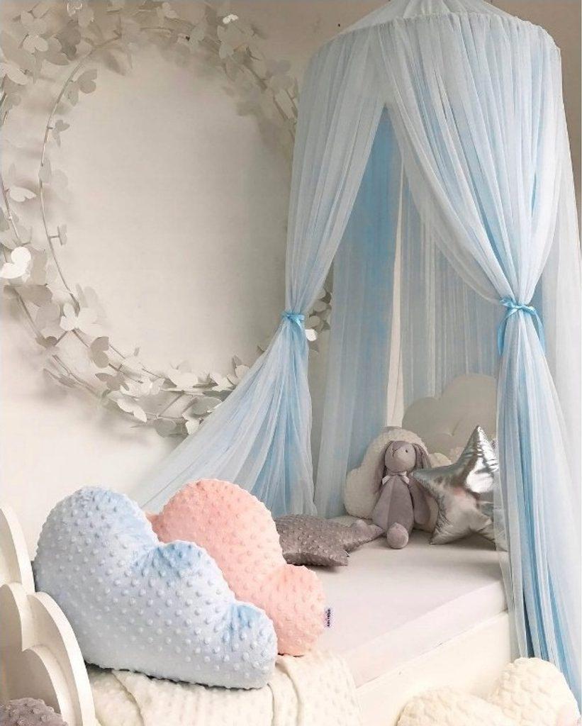 Luxusní nebesa nad postel (extra hustá) - modrá
