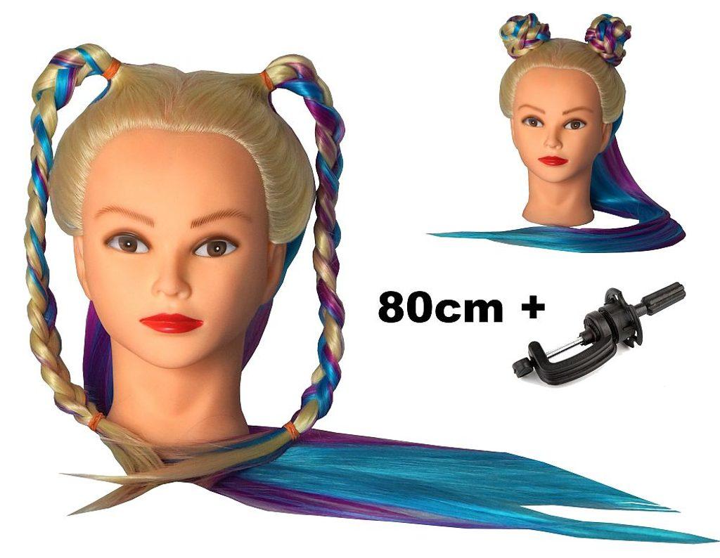 Cvičná hlava Sisi k prodlužování vlasů, střihy, účesy + stojan ZDARMA! až 80cm
