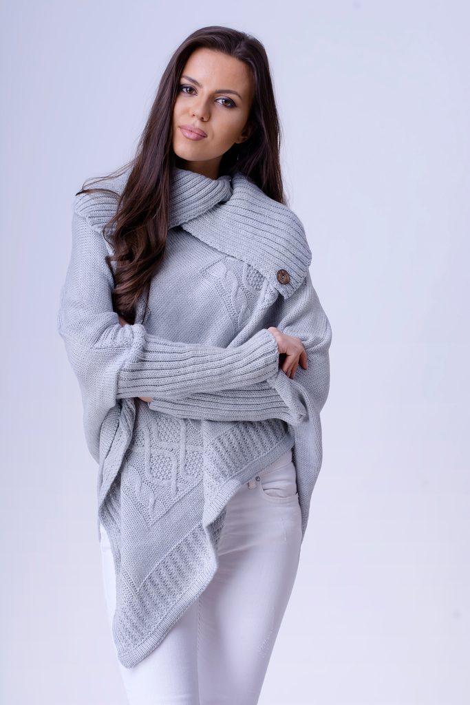 Exkluzivní dámské pončo s rukávy - UNI (S-L)  Grey