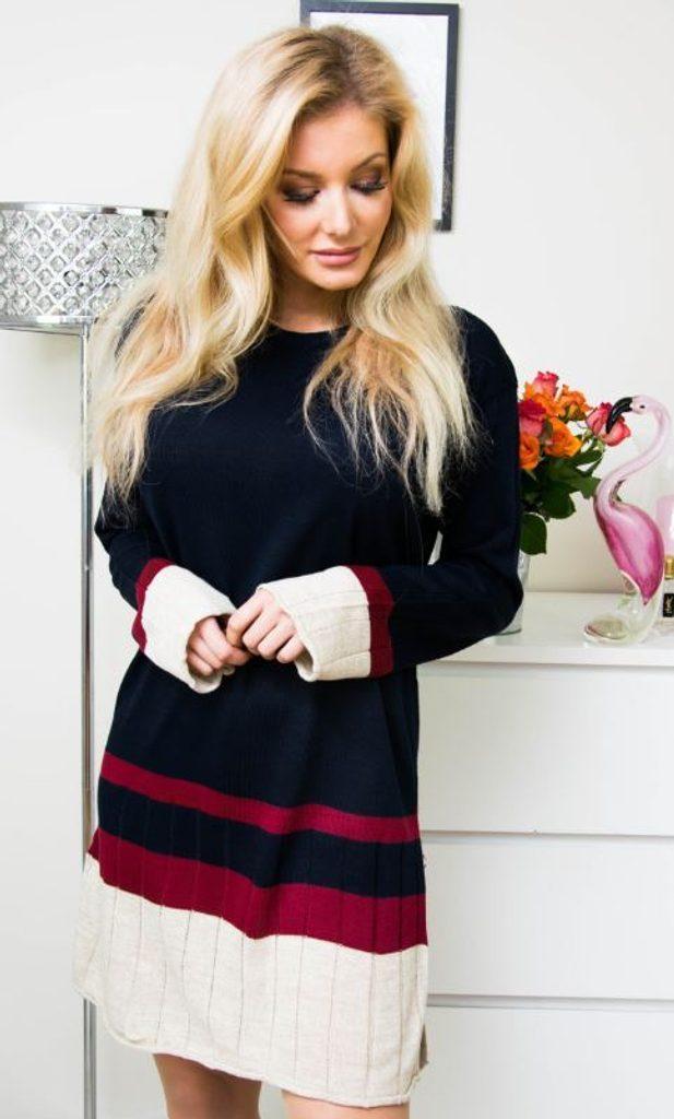 Jedinečné pletené šaty - UNI (S-L)  Granat