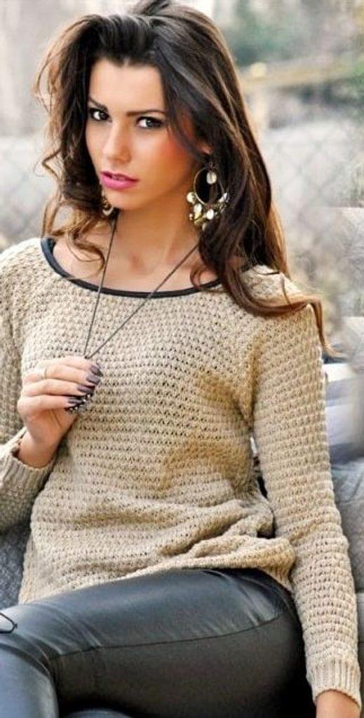 Dámský pletený svetr - UNI (S-L)  Nude