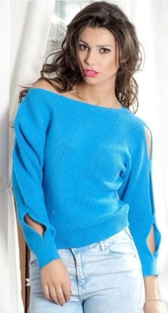 Dámský módní sexy svetřík s prostřihy - UNI (S-L)  Blue