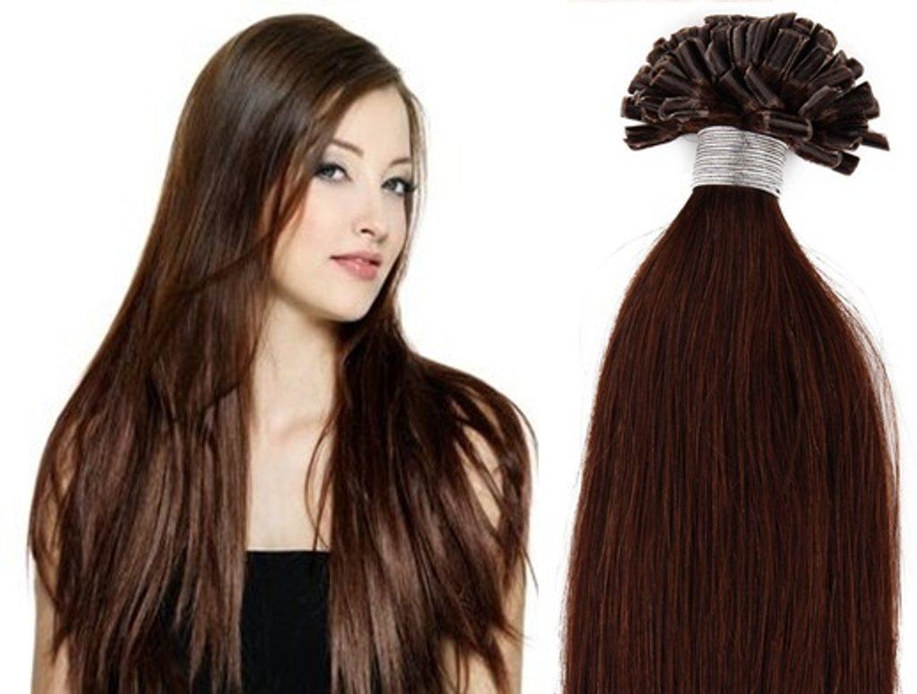 KERATIN- 100% Lidské vlasy k prodloužení REMY, středně hnědé 46,55,60cm - 60cm