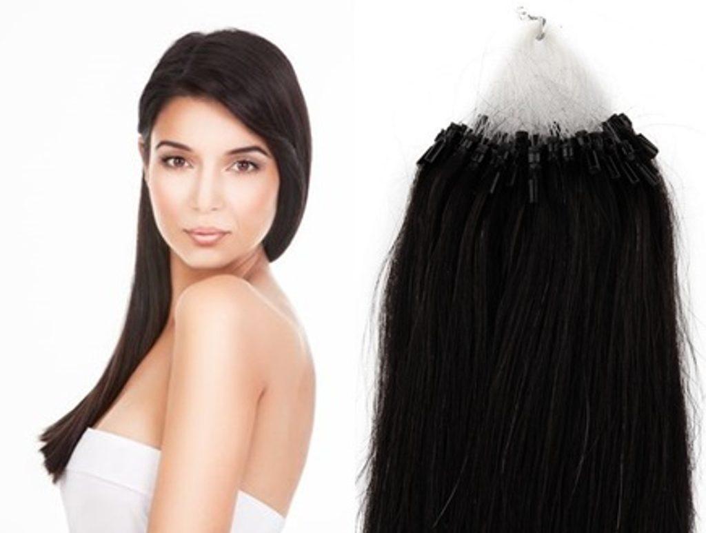 MICRO LOOP/ MICRO RING- 100% Lidské vlasy k prodloužení REMY, černé 55cm