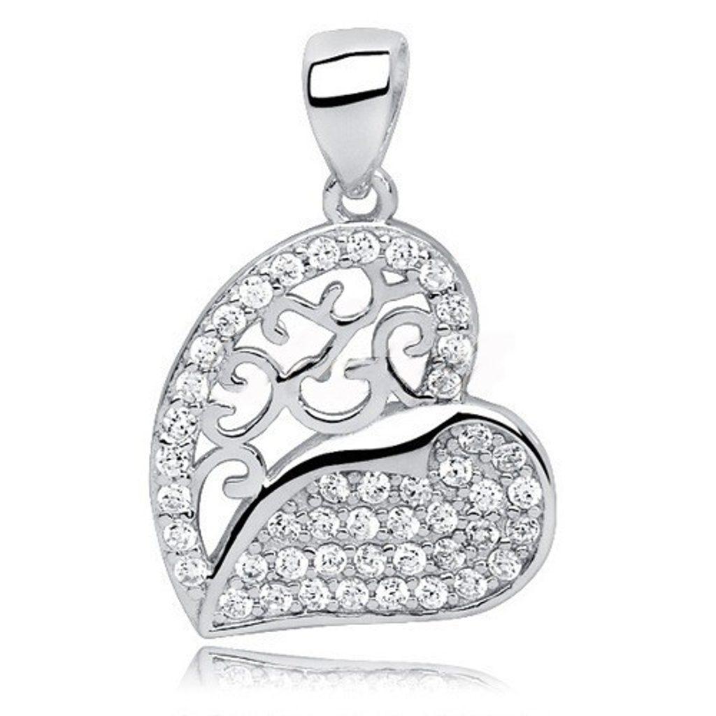 Stříbrné zajímavé srdce se Swarovski Elements Zirconia