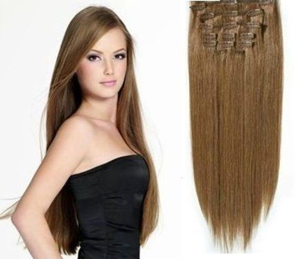 CLIP IN vlasy - 100% Lidské vlasy k prodloužení REMY, světle hnědé