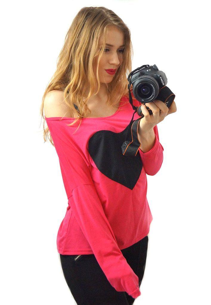 Dámská sexy oversize tunika s odhalenými rameny - UNI (S-L)  Pink