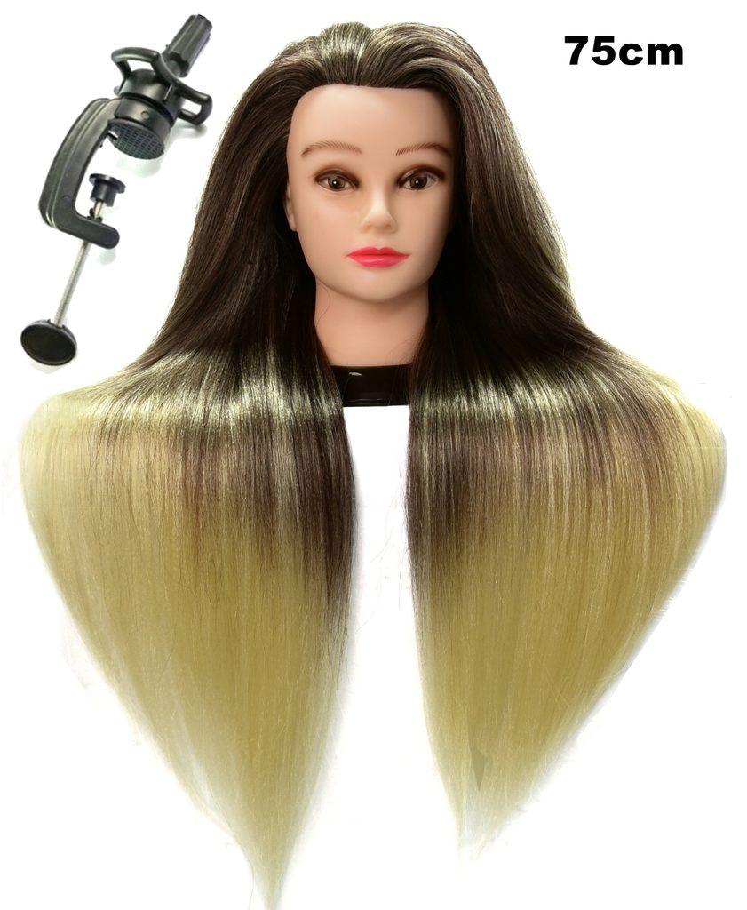 Cvičná hlava Julia k prodlužování vlasů, střihy, účesy + stojan ZDARMA! až 75cm
