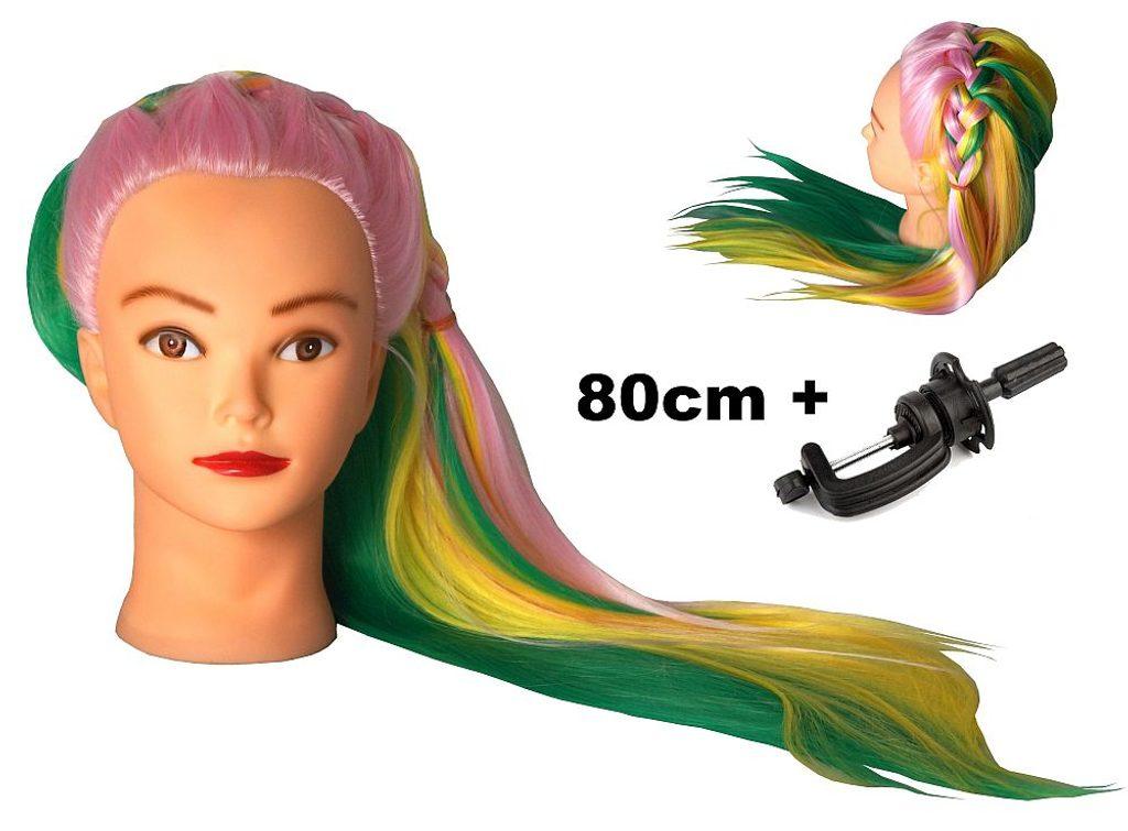 Cvičná hlava Vivien k prodlužování vlasů, střihy, účesy + stojan ZDARMA! až 80cm