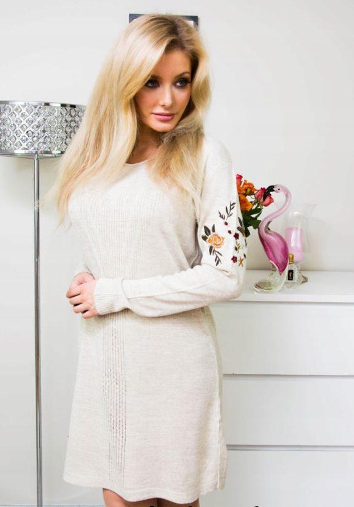 Luxusní šaty s výšivkou - beige - M/L