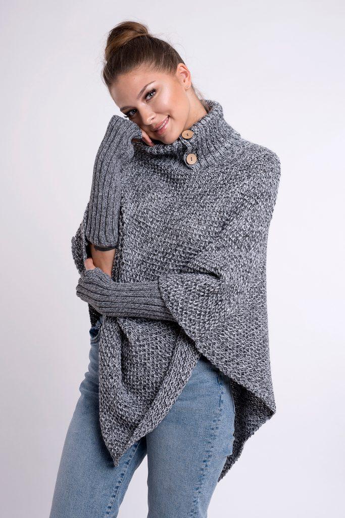 Luxusní pletené pončo s návleky - UNI (S-L)  Grey melange