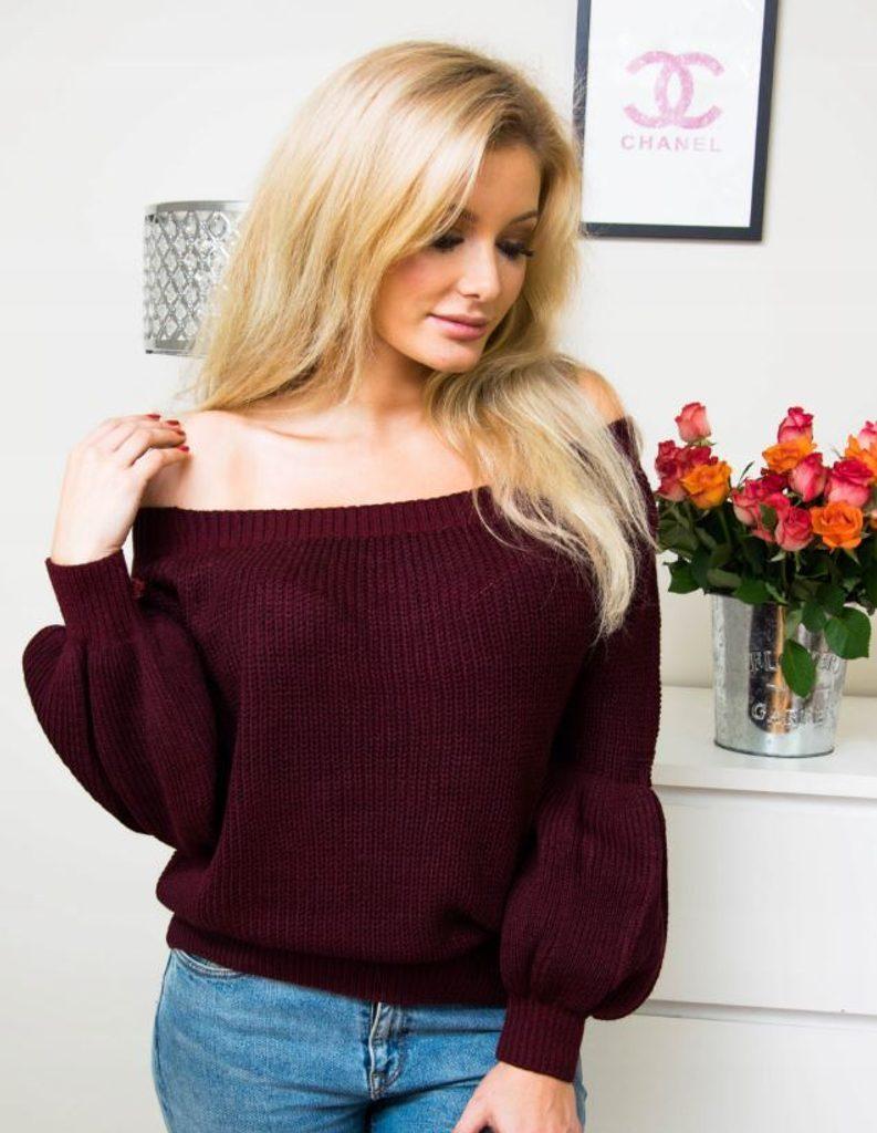 Dokonalý svetr s odhalenými rameny - UNI (S-L)  Bordó