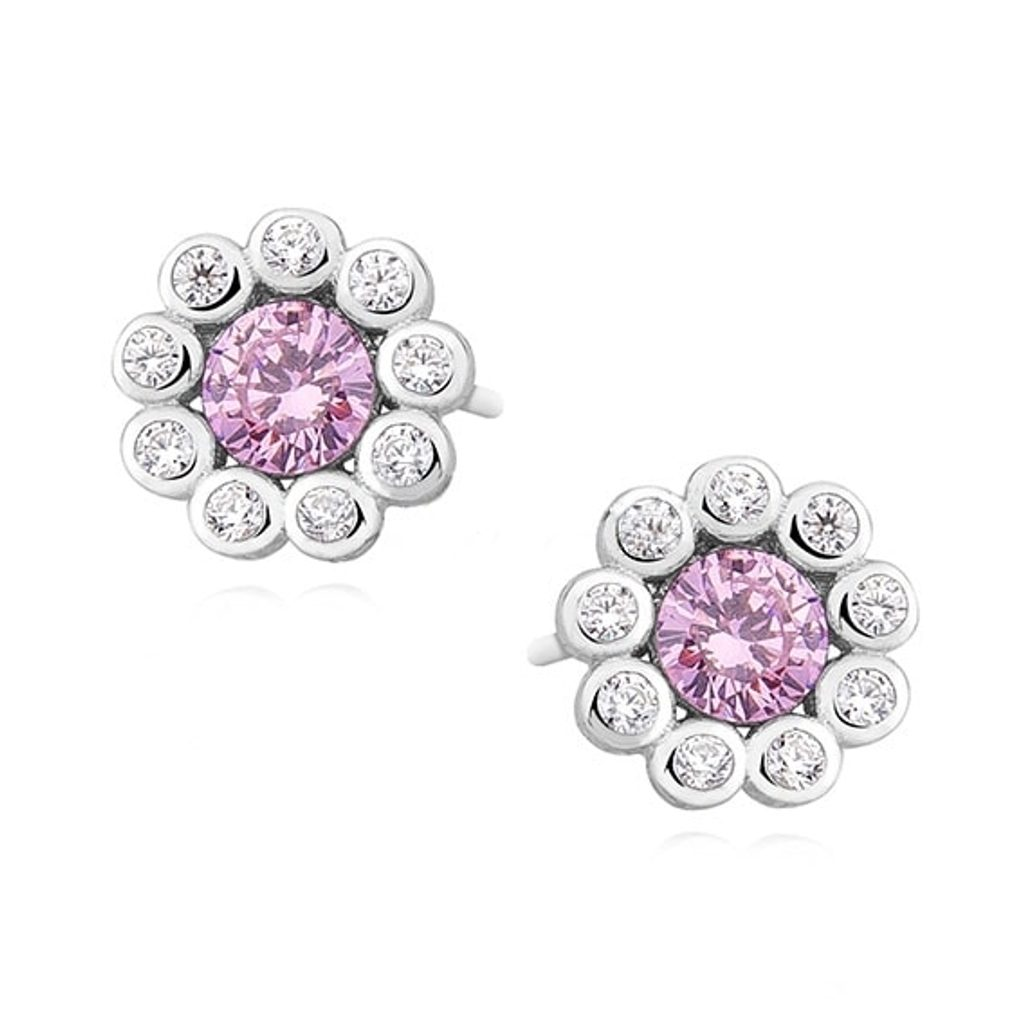 Stříbrné náušnice kytička Swarovski Elements Zirconia - Růžový Safír