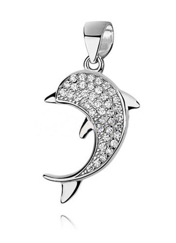 Stříbrný přívěsek Dolphin s kamínky Swarovski Elements Zirconia