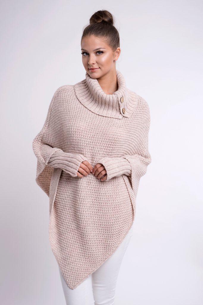 Luxusní pletené pončo s návleky - UNI (S-L)  Melange pink