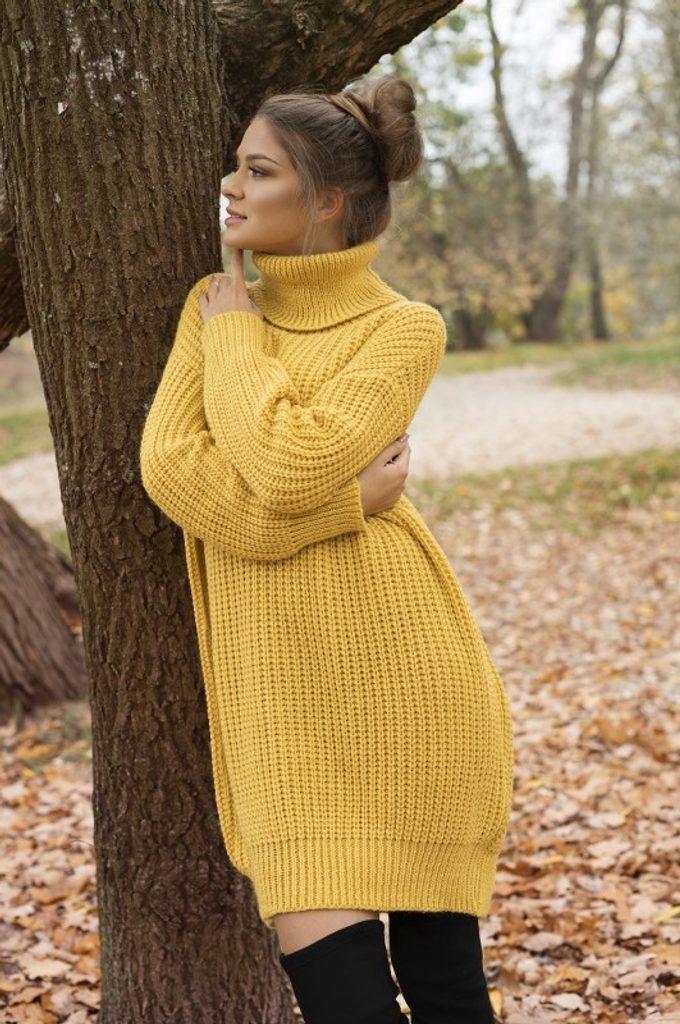 Dámské rolákové šaty - UNI (S-L)  Mustard